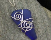 Cobalt blue upcycled sterling silver wire wrapped sea glass pendant for a beach lover