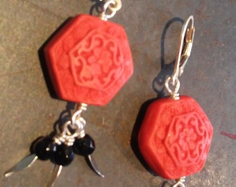 Red Cinnabar Lacquer Earrings with Onyx Cluster and Sterling Silver Lever Back Hooks