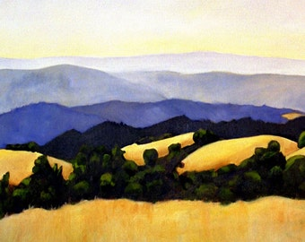 Spectacular Golden Hills Classic California Landscape Print of Original Painting 8.5x11