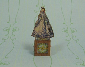 Dollhouse Miniature Gowned Paper Doll Stand Up