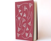 Gingko Leaves Moleskine .  Red Cover . Large Notebook Journal . Plain Pages