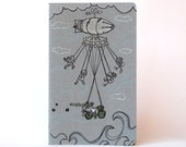 Flying Machine . Grey Moleskine Cahier . Large Notebook . Plain