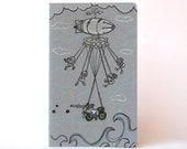Flying Machine . Grey Moleskine Cahier . Large Notebook . Plain