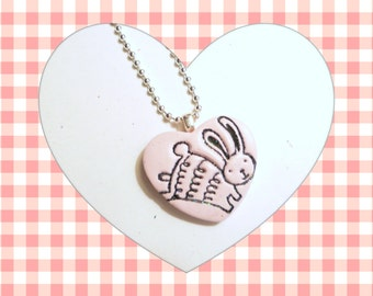 Cute Easter Bunny Jewelry Heart Pendant, Bunny Pin Brooch, Optional Necklace, Spring Colors, Rabbit Jewelry, handmade polymer clay