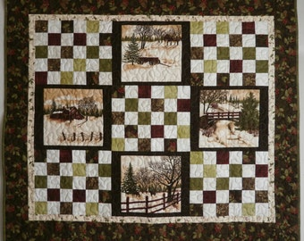 Patchwork Lap Quilt Fall Winter Snow Scenes Traditional Wall Hanging in Cotton Fabrics