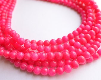The Michelle- Hot Pink Jade Statement Necklace