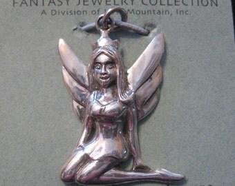 vtg Sterling Silver FAIRY Pendant UMA Fantasy Jewelry 1990's
