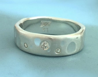 Shoreline Eternity Ring in Sterling Silver with Moissanite