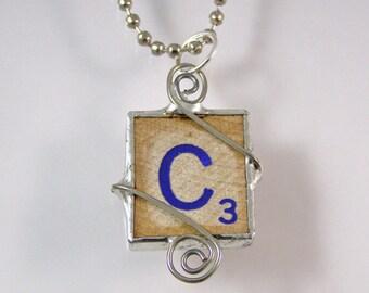 Blue Letter C Scrabble Pendant