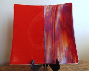 Large Glass Serving Dish, Handmade Fused Glass, Red Dish, Smokeylady54