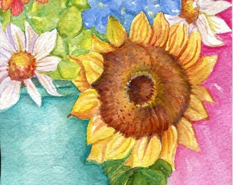 Flowers original watercolor  Sunflower daisies zinnia, blue canning jar  5 x 7, Small Floral Wall Art, Flower watercolors paintings original