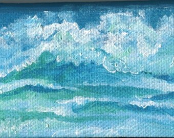 Seascape, Waves Mini Painting on canvas, small original ocean Art, 2 x 4 acrylic painting canvas art,  sea mini art, ocean artwork, tiny