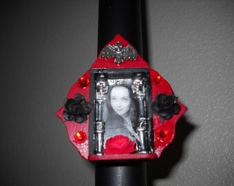 Morticia Addams Family Wooden Altar Magnet Shrine FREE SHIPPING within US