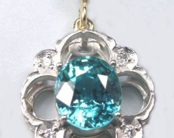 Blue zircon and diamond pendant.