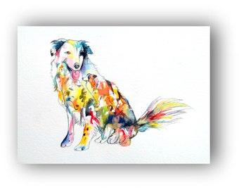 Border Collie Art Print Silhouette pet portrait Watercolor Fine Art Hand colored Home Decor dog artwork