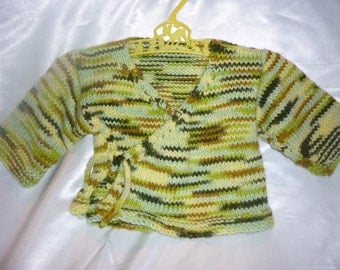 Sweet Acrylic Hand Knit 6-12 month Baby Kimono Sweater in Greens and Browns