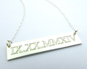 Roman Numerals Silver Bar Necklace, Engraved Date Necklace, Memory Silver Bar Necklace, .925 SS Front/Back Personalized Customized Necklace