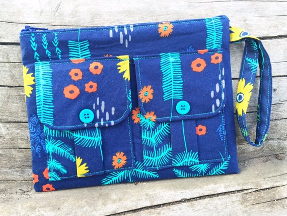 Navy Blue Ferns Wristlet Wallet, Smartphone Wristlet, Cell Phone Wallet, Large Wristlet, Floral Wallet