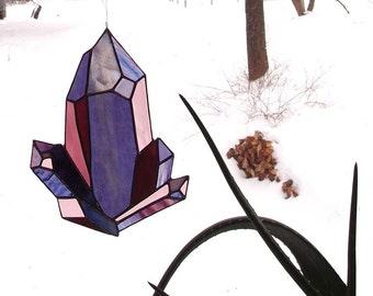 Amethyst Stained Glass Sun Catcher - An Original Drawing in Purple Glass