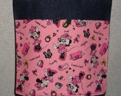 New Small Denim Tote Bag Handmade with Disney Minnie Mouse Pink Characters Fabric