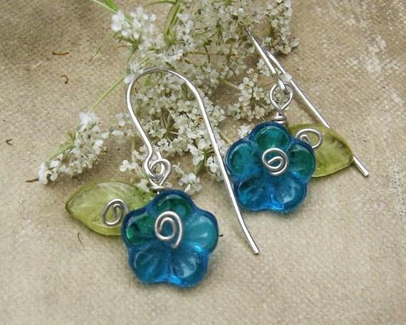 Teal Glass Flower Earrings, Dangle Earrings, Sterling Silver Wire Wrapped Czech Glass, Little Girls Small Earrings, Women, Stocking Stuffer