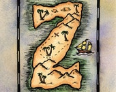 """Z Treasure Map / 5"""" x 7"""" Archival PRINT / Pirate Map of Letter Shaped Island / Alphabet Letter Z / Initial Z / Sailing Gift / Nautical Art"""