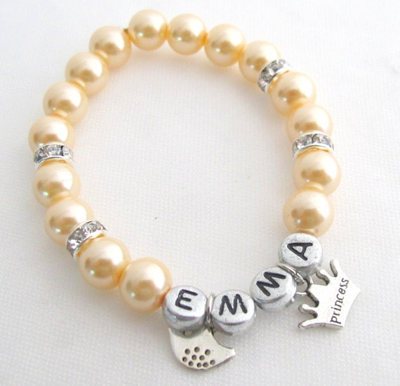 Custom Personalized Pearl  Bracelet Girls Name Flower Bracelet Princess Bracelet Party Favors Bracelets Free Shipping In USA