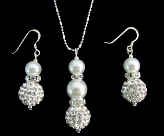Ivory Bridesmaid Jewelry Set, Cream Pearl Necklace & Earrings Set,Bridal Set, Rhinestone Bridesmaid Jewelry,wedding gift Free Shipping USA,