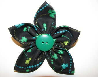 Saint Patrick's Day Green Shamrock Print Fabric Flower Brooch