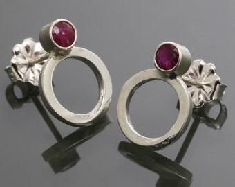 Ruby Möbius Earrings. Sterling Silver. Stud Earrings. Genuine Gemstone. July Birthstone. MBE03-GEN-JUL