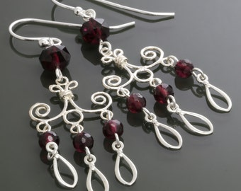 Garnet Chandelier Earrings. Sterling Silver. Genuine Garnet. January Birthstone. Big Earrings. s15e059