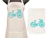 blue bike apron and towel set