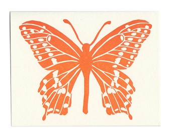 Orange Butterflies set of five greeting cards, blank inside, letterpress greeting card, butterfly, lepidoptery, nature, spring, orange,