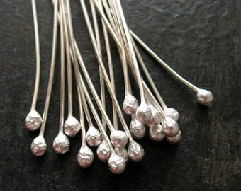 22 gauge Bright Sterling Silver Ball Tipped Headpins - 20 pieces