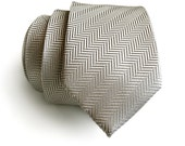 Silver silk necktie. Elegant woven herringbone silk tie. Brilliant, luminous silver gray shift in the light! Men's silk necktie.