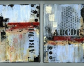 Two small paintings wall art home decor shelf sitters grafitti art abstract