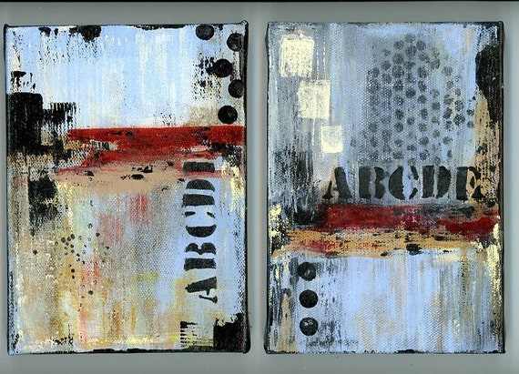 two small paintings wall art home decor shelf sitters grafitti graffiti abstract stretched canvas prints framed wall art