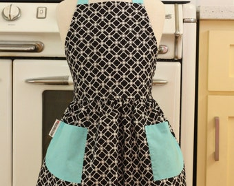 Vintage Inspired Black and White Deco Tiles with AQUA Full Apron for Little Girls