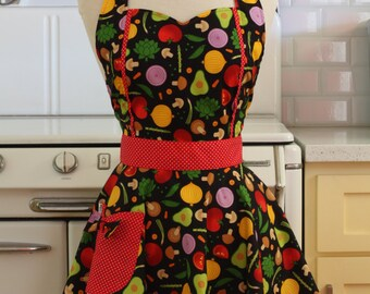 The MAGGIE Vintage Inspired Vegetables on Black Full Apron