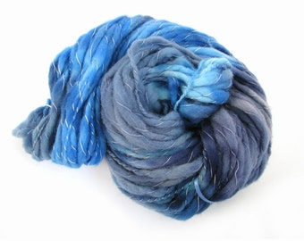 Bulky BFL yarn, blue hand dyed chunky bluefaced leicester knitting crochet wool, Perran Yarns, uk seller, yarn skein, Ocean Blue, midnight