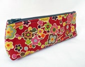 SALE Long Zippered Pencil Pouch, Retro Style Red Floral Cosmetics Bag