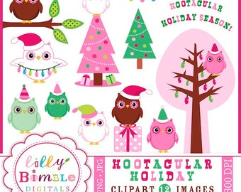 80% off Christmas Owls clipart in hot pink and green, hootacular holidays Trees INSTANT DOWNLOAD Holiday Owl