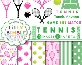 40% off Tennis Clipart, pink raquet, tennis anyone, digital scrapbook paper, pink and green, balls, court, instand download, girls