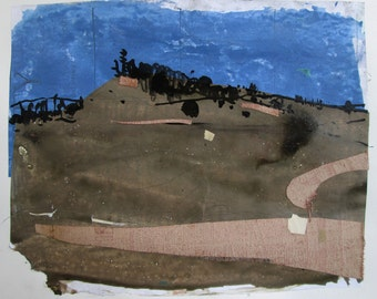 After the Storm, On Lost Dog Hill, Original Landscape Collage Painting on Paper, Stooshinoff