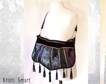 Large purple and silver tasseled bohemian shoulder bag