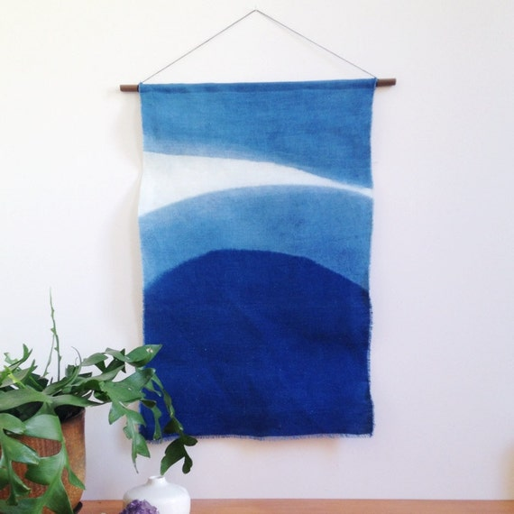 Linen And Indigo Wall Hanging In Cresent Anna Joyce Hand