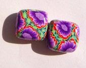 Purple Iris Handmade Artisan Polymer Clay Bead Pair