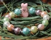 LIMITED! Easter Bunny Peep style pearl bracelet. PINK Glitter Bunny bracelets makes a great Easter Basket Filler