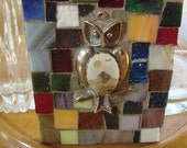 Mosaic Tile Art Wood Plaque Wall Hanging Small Owl Stained Glass Bird Retro Vintage Broken Plate Pieces