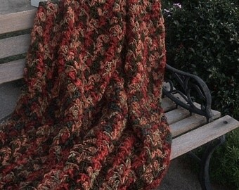 Hand Crocheted Afghan Throw in Verigated Rich Fall Colors